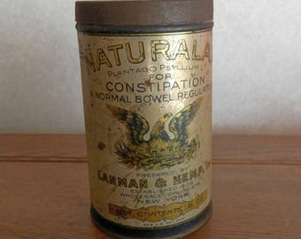 antique Naturlax tin can with lid