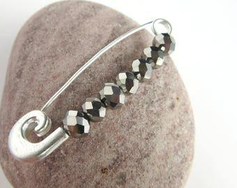 Beaded Sweater Pin - Sparkling Bead Shawl Pin - Mirror Ball Jewelry - Metal Bead Scarf Brooch