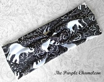 Elephant Print Midi Twist Turban in Black and White Turban Workout Wear Yoga Wrap Headwrap Stretch Headwrap Running Headwrap Gifts for Her
