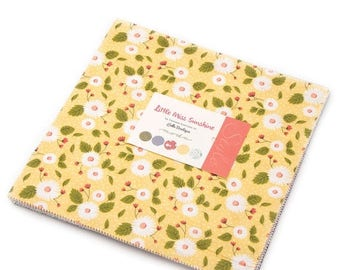 SALE Little Miss Sunshine Layer Cake - Lella Boutique for Moda - 10-Inch Squares - Precut Quilt Squares - Floral Layer Cake - Cheerful Fabri