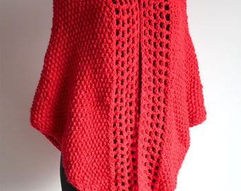 Large Size Bright Red Color Chunky Knitted Crochet Shawl Wrap Wedding Stole with Three Tassels Fringes