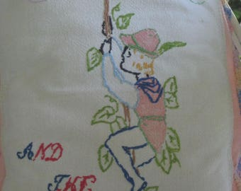 Storybook Pillow Linen Embroidery Jack In The Beanstalk Childrens Decor Nursery Gift