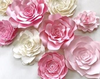 Pink Paper Flower Wall Decor, wedding backdrop, nursery wall art, paper flower backdrop, girls room decor, nursery decor,