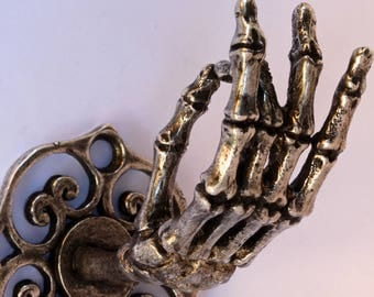 Silver Plated Skeleton Hand Wall Hook Coat Rack Curtain  Rod Holder Jewelry Rack Made in NYC