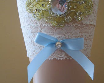 Gold & Ivory Lace Wedding Garter Set, Rustic Ivory Garter, Something Blue Garters, Bling- Crystal- Rhinestone Garter, Rustic, Country Bride