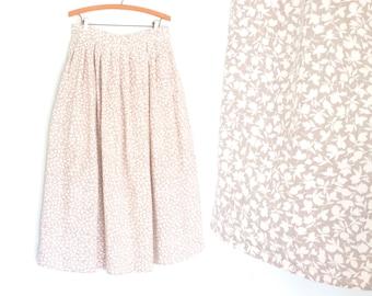 Vintage 80s Skirt * Long Tea Skirt * 80s Tea Length Skirt * Large