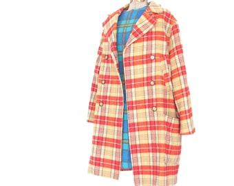 Vintage Wool Pea Coat * Plaid Jacket * Double Breasted Coat * 90s Oilily * Medium - Large