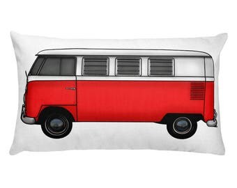 Car Lover Gift - VW Camper Van Throw Pillow - Automobile Lover Gift - Classic Car Gift Idea - Baby Nursery Decor - Red Car - Gift for Boys
