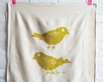 Golden Rod Chickadee Tea Towel - READY TO SHIP