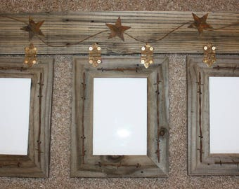 Rustic Barnwood Picture Frame 3-5x7 Hinged Frames Collage Photo Display w/Glass Multi-Photo Barbed Wire Stars