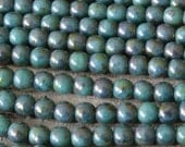 4mm Round Glass Beads For Jewelry Making - Czech Glass Beads - 4mm Druks - Supplies - Turquoise Bronze Picasso Beads - 100 beads