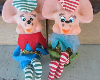Vintage Knee Hugger Mice Elves Lot of 2 Poseable Ornaments Made in Japan
