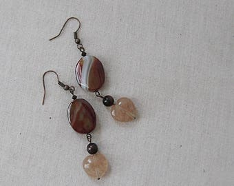 Fancy Jasper Ovals with Rutilated Quartz Hearts Earrings on Copper, Yellow, Orange, Red, Copper