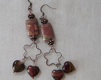 Picasso Jasper Earrings with Red Tiger's Eye and Mookdaite on Copper, Burgundy, Yellow, Dark Red, Copper