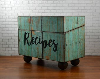 Recipe card box, rustic kitchen, distressed wood box, weathered turquoise barn wood, wedding gift, family recipe storage