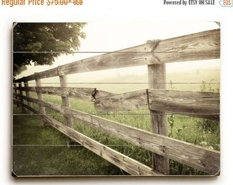 Rustic Sign, Wood Plank Wall Art, Country Landscape, Photograph on Wood, Rustic Home Decor, Country Fence Photo, Wood Sign, Country Print