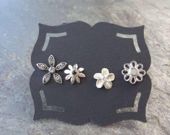 Vintage Sterling Studs - Sterling - Mismatched Earrings - Single - Post Earrings - Flower Earring Lot - Flower Studs