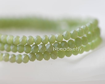 145pcs Frosted Crystal Glass Faceted Rondelle Tiny beads 2x3mm, Green Matte (#BZ03-59)