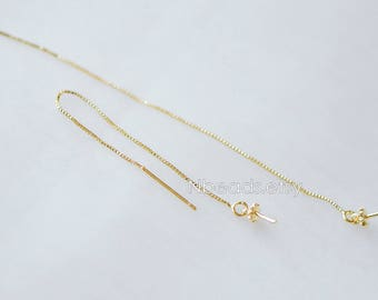 10pcs Gold plated Brass Ear Threader Earrings, Earwire Thread with Cup and Peg (GB-146)