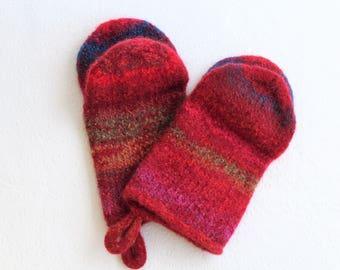 Cherry Red Knit Felted Wool Oven Mitt Set , Turquoise, Red Boiled Wool Oven Mitt, Rainbow Wool Oven Glove Set, Hostess Gift, Shower gift