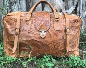 Vintage 50s tooled leather suitcase/ All hand tooled leather soft and worn in / Bohemian travel bag / Southwestern leather luggage