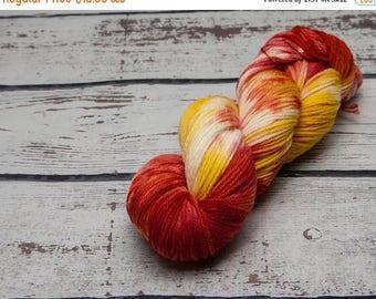 ON SALE Campfire Variegated yarn - Hand dyed DK yarn, merino, red, orange, peach, yellow, dk yarn, variegated