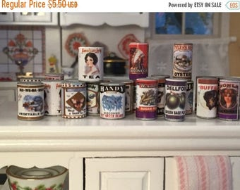 Miniature Food Cans, Set of 24, Larder Tins, Dollhouse Miniature, 1:12 Scale, Dollhouse Food, Pantry Cupboard Cans, Miniature Food Cans