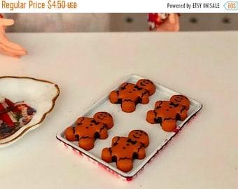 SALE Miniature Cookies, Gingerbread Man Cookies on Sheet, Dollhouse Miniature, 1:12 Scale, Mini Food, Dollhouse Food, Accessory, Decor, Holi