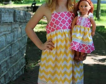 Dolly and Me yellow chevron knot dress, size 1-12