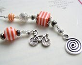 I Want to Ride My Bicycle Bookmark - Beaded Book Thong in Bright Neon Orange and White Stripe with Cycling Charm