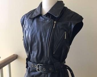 Vintage Akoury Cuirs Black Leather Motorcycle Biker Unisex Vest Large XL