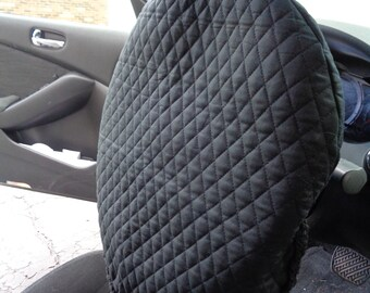 Black Quilted Steering Wheel Cover, Gift for Dad, Present for Grad, Steering Wheel Protector, Keep Cooler Cover, Crochet Edging, Removable