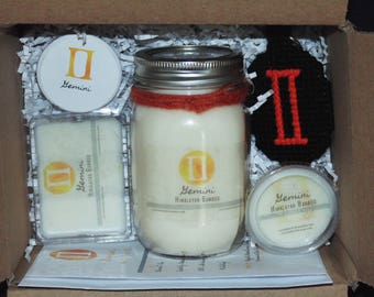 GEMINI, Zodiac Gift Set, Sign Set, 16oz Candle, Soy Waxmelts, Astrology Gift, Keychain, Button, THE TWINS