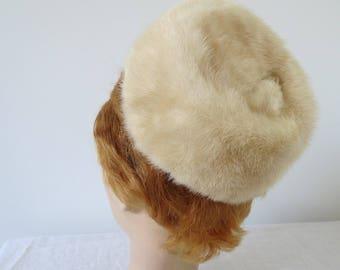 1950s Blonde Mink Pillbox Hat with Foot - Amrose New York