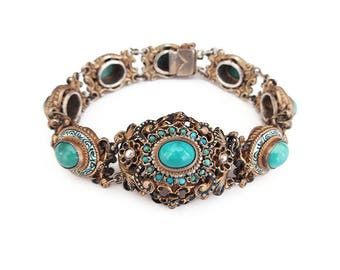 Austro Hungarian Victorian Silver Bracelet - Turquoise Stone, Seed Pearl, Silver Vermeil, Gold Plated, Enamel Jewelry, Antique Jewelry