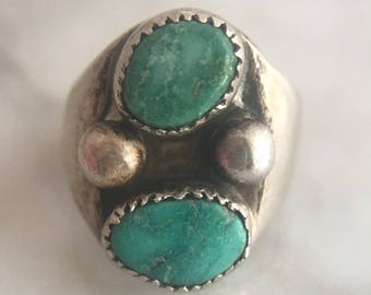 Vintage Native American Sterling Silver and Turquoise Ring