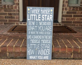 Twinkle Twinkle Little Star ~Gender Reveal Custom Wood Sign ~Nursery Decor ~Baby Shower Gift ~Nursery Rhyme ~Nursery Sign ~Playroom Sign