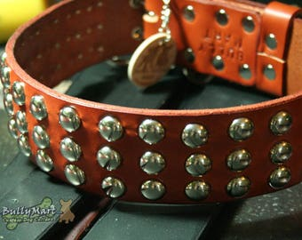"SALE - Custom Leather Dog Collars - 1.5"" wide CLASSIC STUDDED Collar - Studs -  Pit Bulls, Rottweilers, Mastiffs, Great Danes, Shepherds"