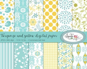 65%OFF SALE Baby digital papers, turquoise and yellow digital paper, digital scrapbook paper, dragonfly digital paper, P28