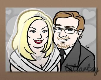 Digital WEDDING CARICATURE - A Cartoon of You - Personalized Couple Cartoon Caricature - Custom Wedding Caricature by Tati Viana