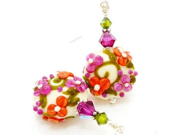 Floral Earrings, Pink Coral Earrings, Lampwork Earrings, Glass Earrings, Flower Earrings, Glass Bead Earrings, Colorful Earrings