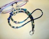 FLOWER Eyeglass Lanyard with Czech Flowers and other Beads IN Shades of Blue, with Rubber eyeglass holders,  Mom or Teacher Gift