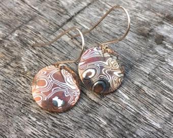 Sterling Silver & Copper Mokume Gane Domed Disc Shaped Earrings