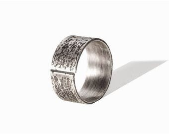 """Mixed silver ring oxidized and textured """"Myo"""""""