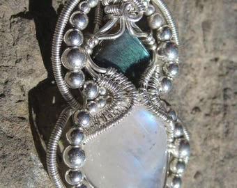Divine Balance/ Labradorite, Moonstone and Sterling Silver Wire Wrap  Pendant, One of a KInd, Handmade, Art