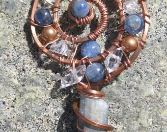 Sacred Spiral/Psycic Explosion/Blue Kyanite, Double Terminated Pakimer Quartz, and Copper Wire Wrap Pendant, One of a Kind, Handmade, Art