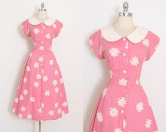 Vintage 40s Dress | vintage 1940s dress | pink cotton white flowers | large lg | 6008