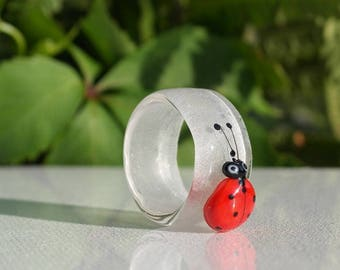 Lampwork glass ring US size 9 / 19mm DE size, ladybug ring , glass jewelry , ladybird sra artist
