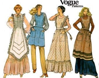 Vogue 7526 Womens Full Aprons Pinafores 70s Vintage Sewing Pattern MEDIUM Size 12 - 14 Bust 34 - 36 inches UNCUT Factory Folds