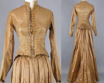 Victorian Brown Silk Dress, Antique Victorian Jacket and Bustle Skirt, Steampunk Dress, 1800s Dress